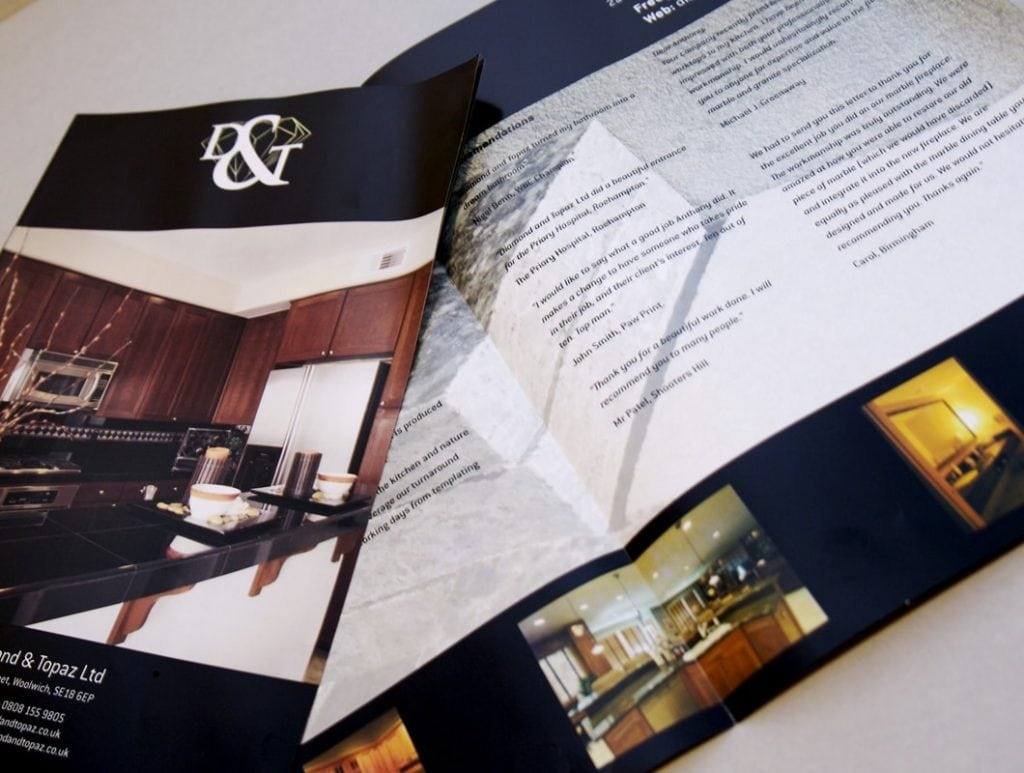 Brochure for Diamond & Topaz stonemasons